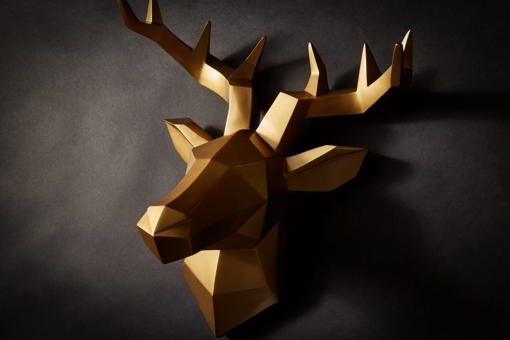 Wanddeko Hirsch gold 8