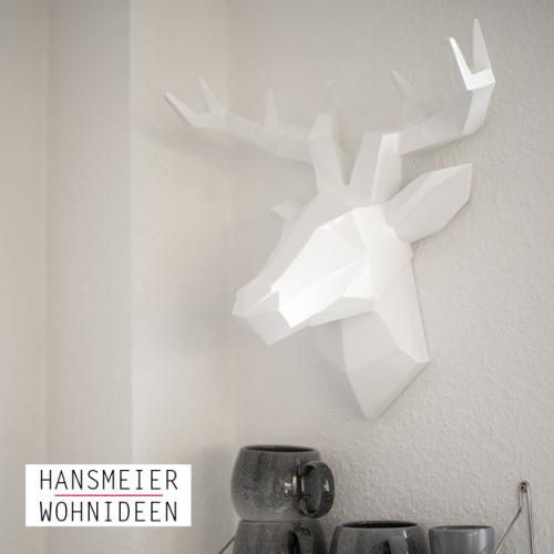 Hirschkopf Wanddeko Skulptur weiß 11