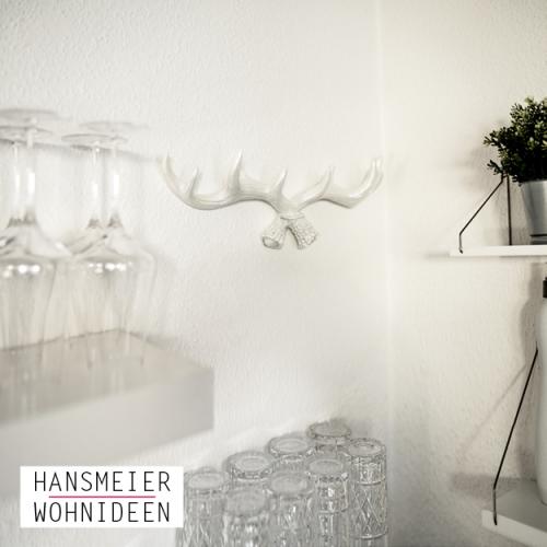 Hansmeier kleiderhaken geweih weiß garderobe Wanddeko Garderobenhaken 10