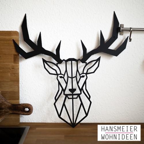 Hirsch-Wanddeko aus Metall 50x50cm 11