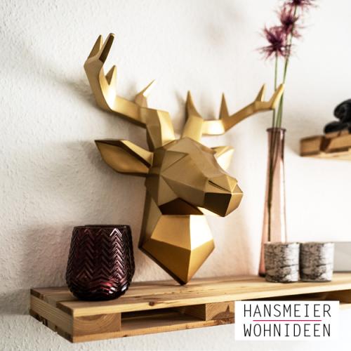 Hirschkopf Wandskulptur gold 10