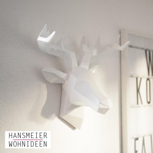 Hirschkopf Wanddeko Skulptur weiß 10